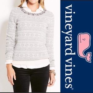 VINEYARD VINES white & gray merino wool sweater